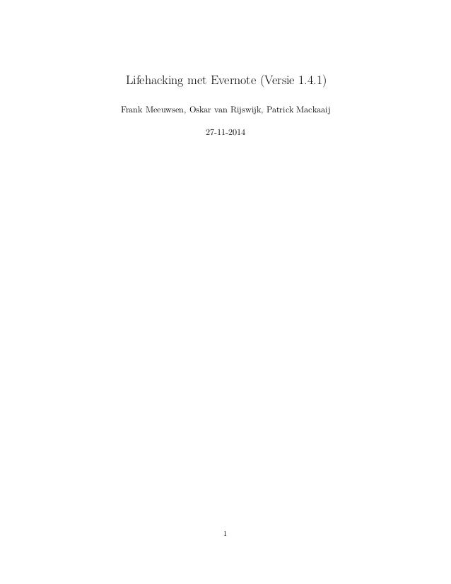Lifehacking met Evernote Slide 2