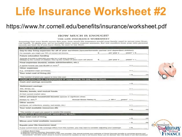 Life insurance What PFMP Staff and Military Families Need to Know – Life Insurance Needs Worksheet