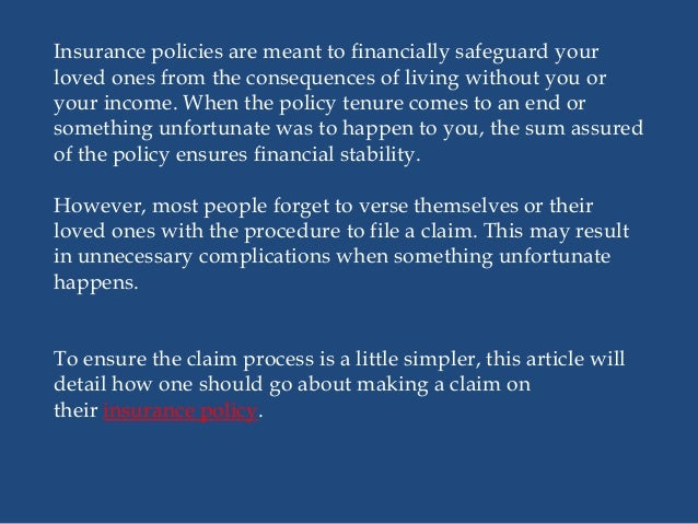 How to make a claim on your life insurance policy?