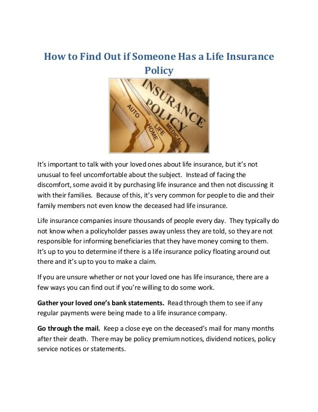 Find Out If Someone Had Life Insurance - Keikaiookami