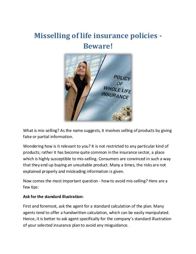 Misselling of life insurance policies - Beware!