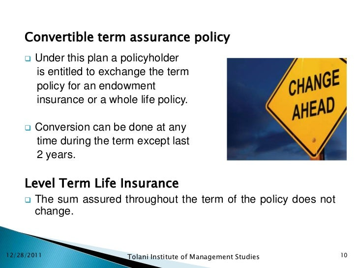 Life insurance ppt 10 convertible term assurance policy thecheapjerseys Choice Image