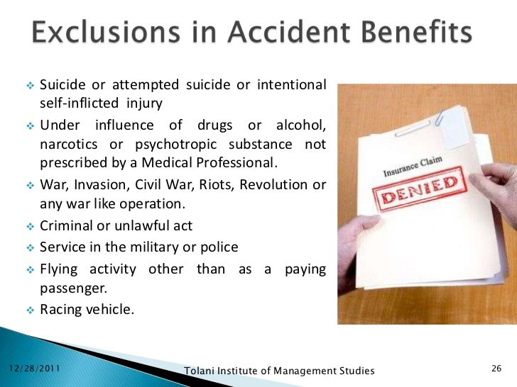    Suicide or attempted suicide or intentional       self-inflicted injury      Under influence of drugs or alcohol,    ...