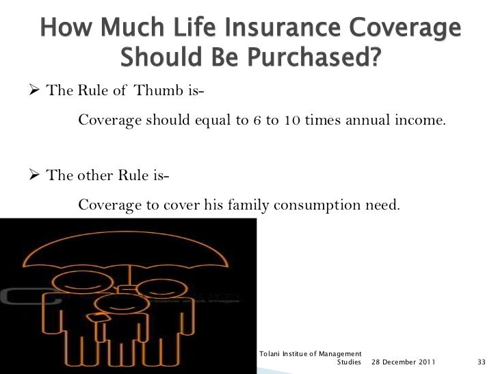 How Much Life Insurance Coverage      Should Be Purchased? The Rule of Thumb is-       Coverage should equal to 6 to 10 t...