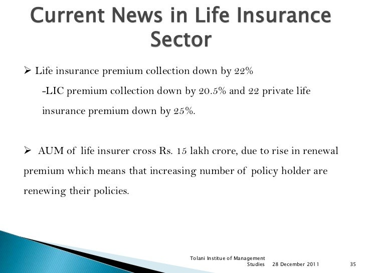 Current News in Life Insurance            Sector Life insurance premium collection down by 22%    -LIC premium collection...