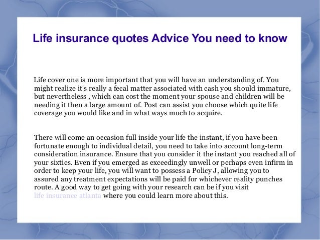 Life Insurance Quotes Advice You Need To Know Life Cover One Is More  Important That You ...