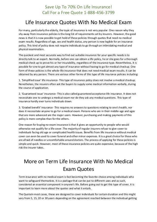 Life Insurance Quotes With No Medical Exam Best Guaranteed Issue Life Insurance Quotes
