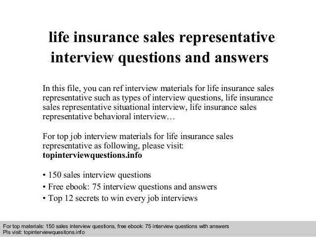 life insurance sales representative interview questions