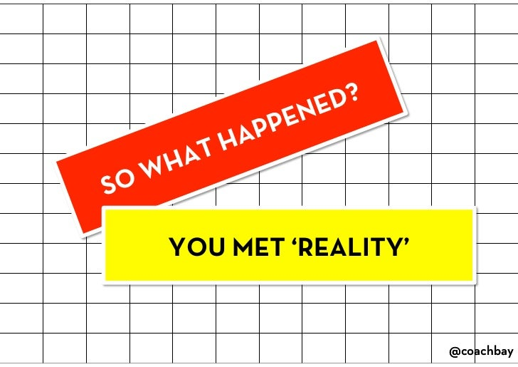 SO WHAT HAPPENED?<br />YOU MET 'REALITY'<br />