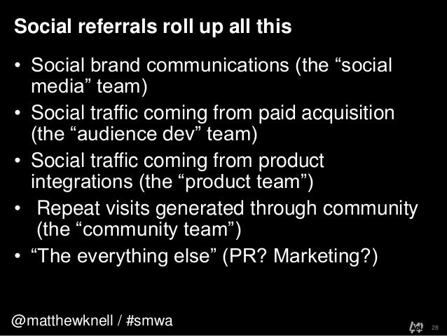 """@matthewknell / #smwaSocial referrals roll up all this28• Social brand communications (the """"socialmedia"""" team)• Social tra..."""
