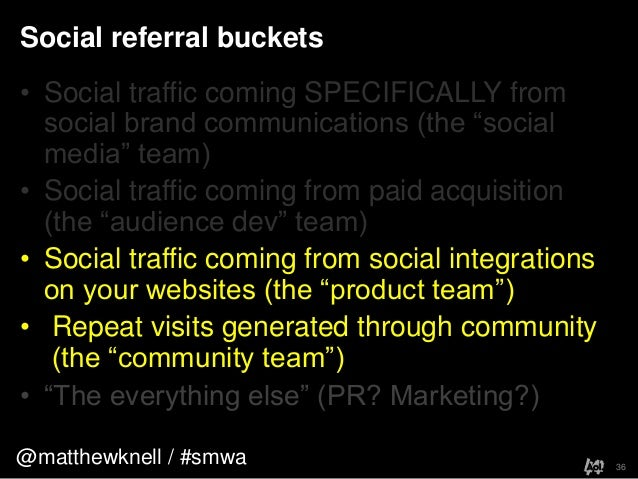 """@matthewknell / #smwaSocial referral buckets36• Social traffic coming SPECIFICALLY fromsocial brand communications (the """"s..."""