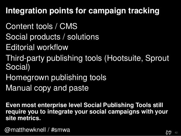 @matthewknell / #smwaIntegration points for campaign tracking42Content tools / CMSSocial products / solutionsEditorial wor...