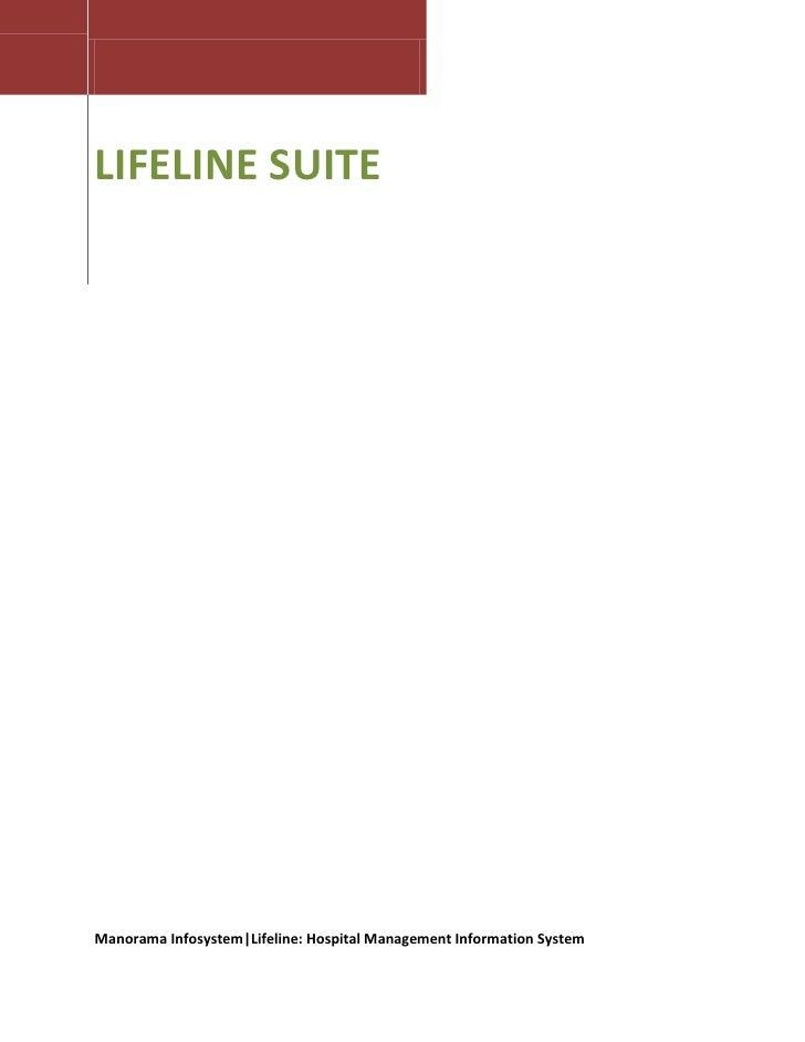 LIFELINE SUITE     Manorama Infosystem|Lifeline: Hospital Management Information System