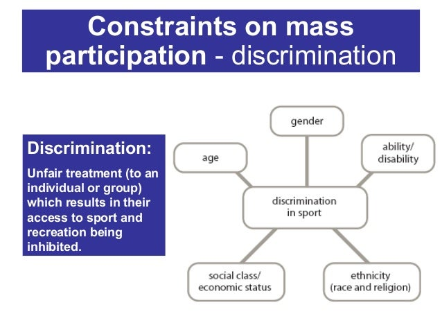Constraints on mass participation - discrimination  Discrimination: Unfair treatment (to an individual or group) which res...