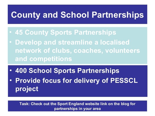 County and School Partnerships • 45 County Sports Partnerships • Develop and streamline a localised network of clubs, coac...