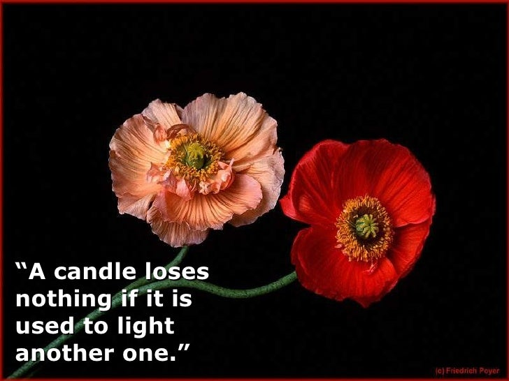 """""""A candle loses nothing if it is used to light another one."""""""