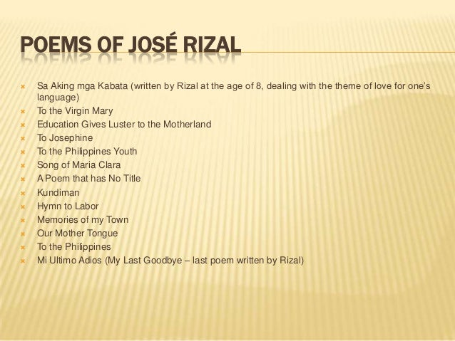 poems and essays of jose rizal Jose rizal [poems] - jose rizalph rizal's poems last poem of rizal (mi ultimo adios) [ tagalog | english ] to the philippines [ english ] our mother tongue.