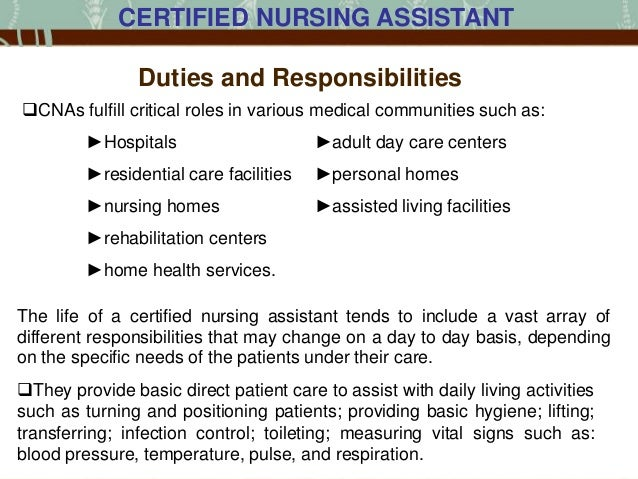 responsibilities of a nursing assistant