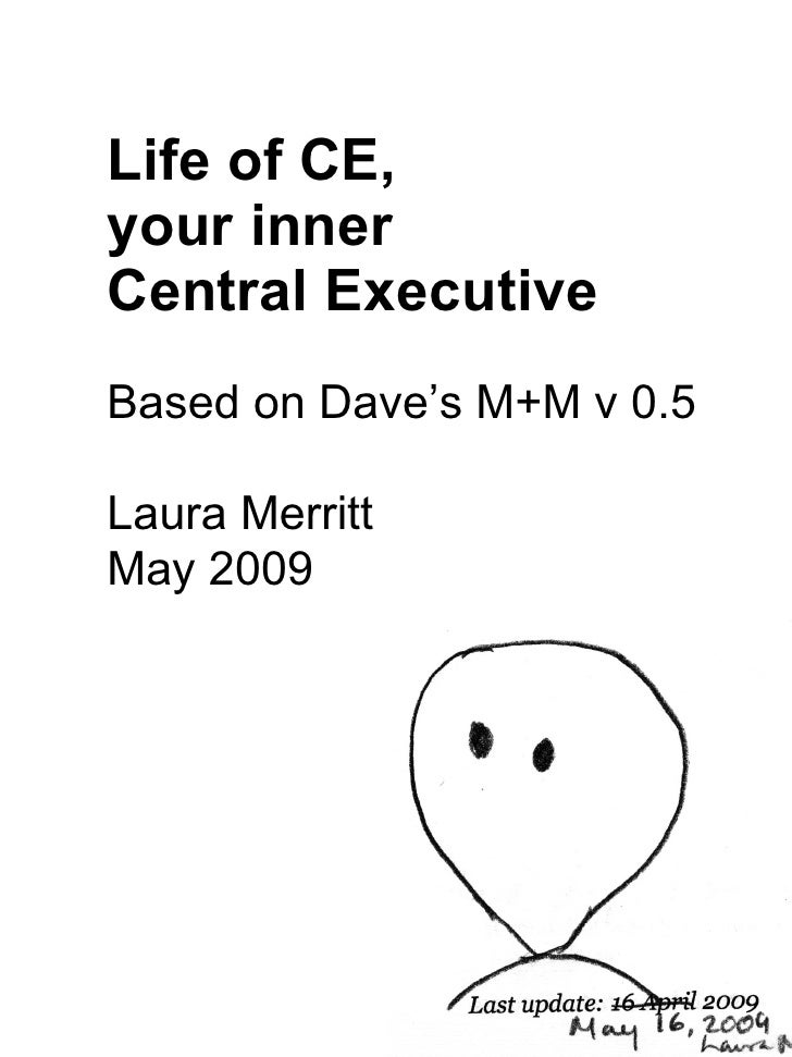 Life of CE,  your inner  Central Executive Based on Dave's M+M v 0.5 Laura Merritt May 2009