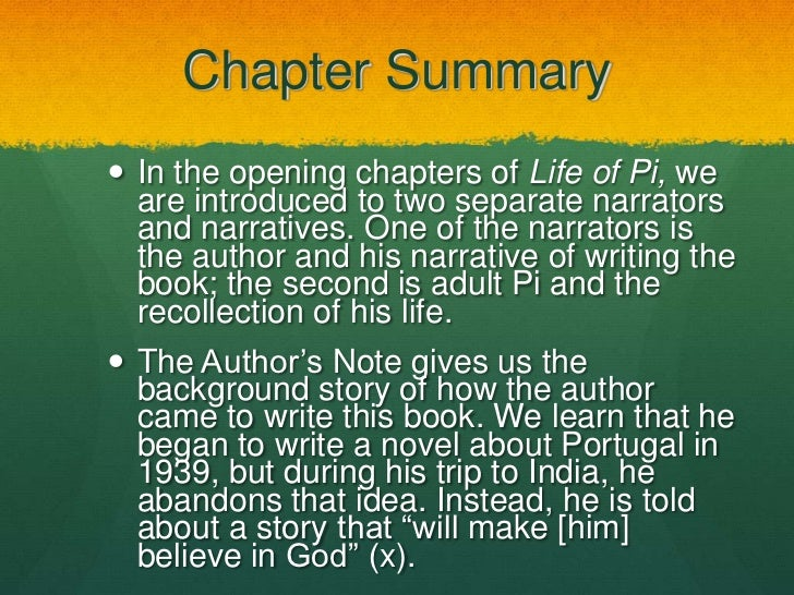 Life of pi for Life of pi chapter summary