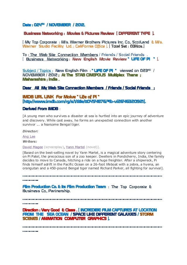 Date : 024TH / NOVEMBER / 2012.Business Networking : Movies & Pictures Review [ DIFFERENT TYPE ].[ My Top Corporate : M/s....