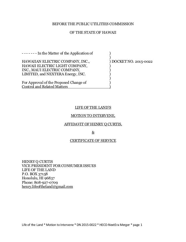 Life of the Land * Motion to Intervene * DN 2015-0022 * HECO-NextEra Merger * page 1 BEFORE THE PUBLIC UTILITIES COMMISSIO...