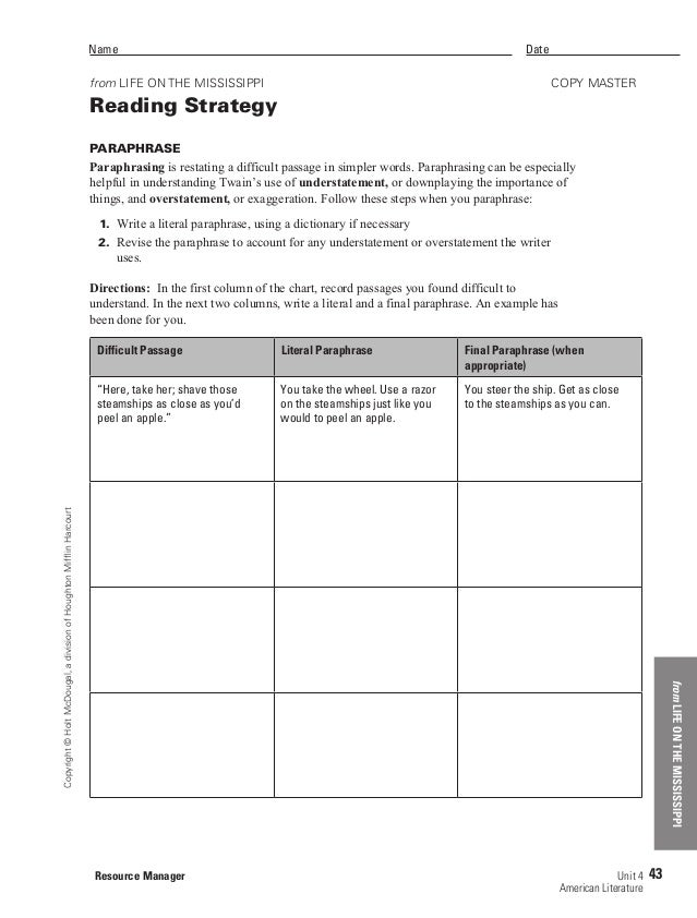 Printables Paraphrase Worksheet life on the mississipp paraphrasing worksheet