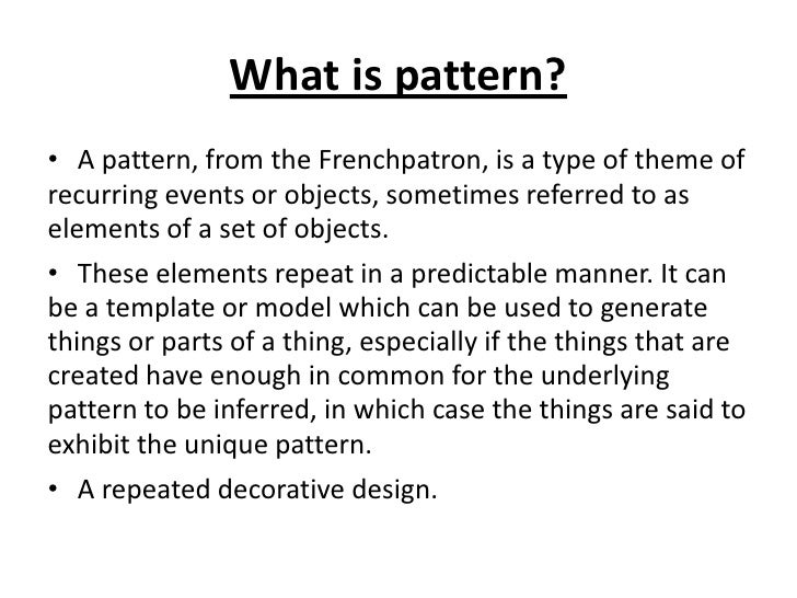 Life Pattern Delectable What Is Pattern