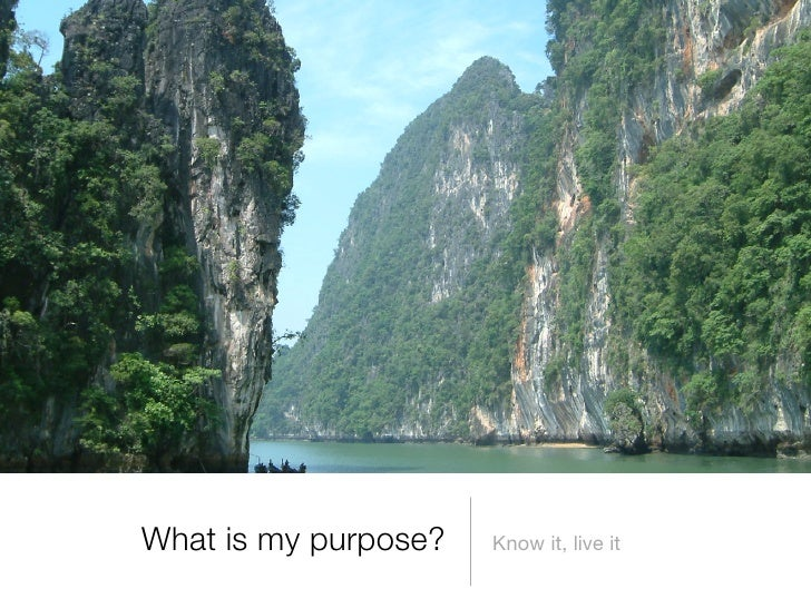 What is my purpose?   Know it, live it