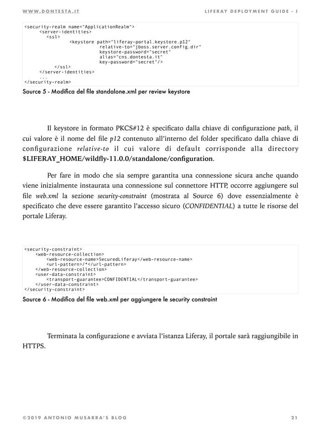 W W W . D O N T E S T A . I T L I F E R AY D E P L OY M E N T G U I D E - I Source 5 - Modifica del file standalone.xml per ...
