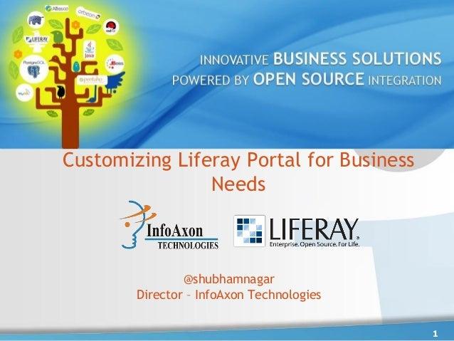Customizing Liferay Portal for Business                Needs                @shubhamnagar        Director – InfoAxon Techn...