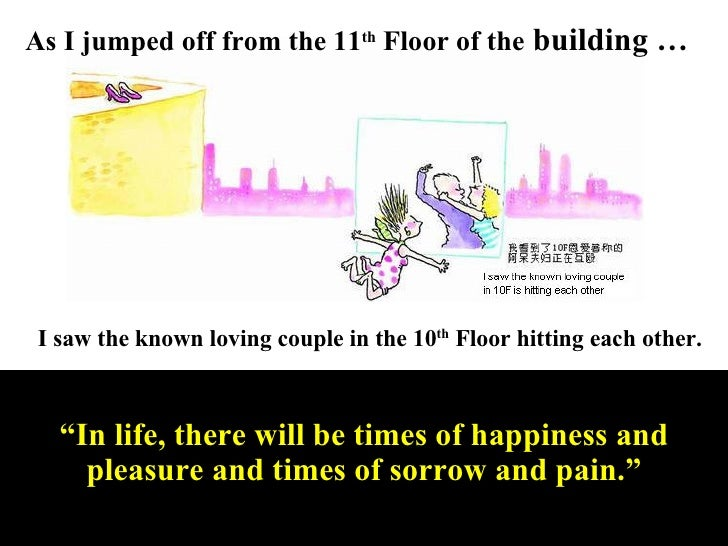 As I jumped off from the 11 th  Floor of the  building … I saw the known loving couple in the 10 th  Floor hitting each ot...