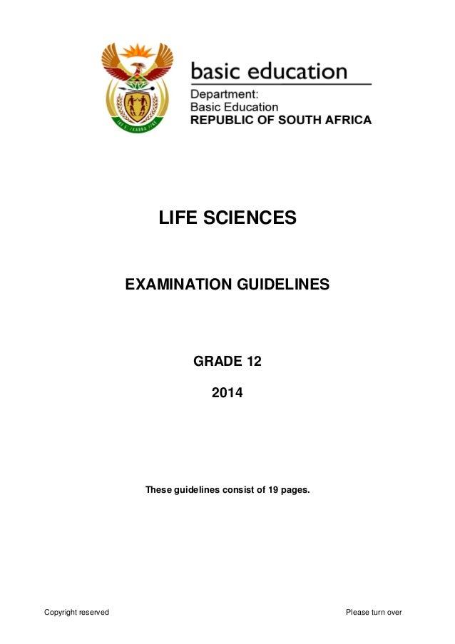 life sciences gr 12 exam guide 2014 eng rh slideshare net 12 Grade Math Homework life sciences grade 12 examination guidelines 2018