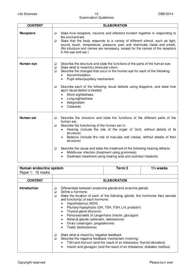 life sciences gr 12 exam guide 2014 eng rh slideshare net life sciences grade 12 exam guidelines 2014 life sciences grade 12 exam guidelines