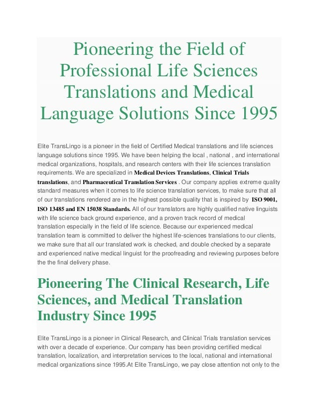 Life Sciences Translation Services For Certified Medical Devicesphar