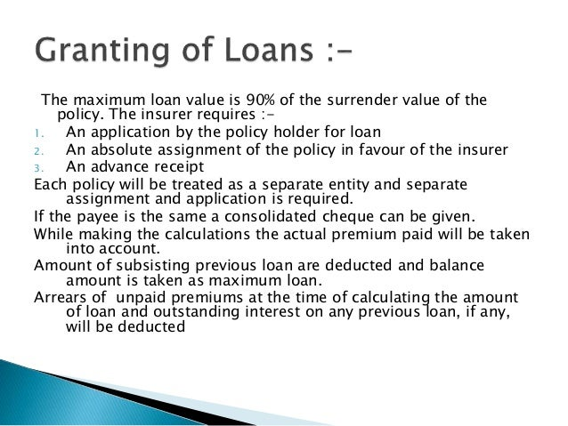 Loans against life insurance policies