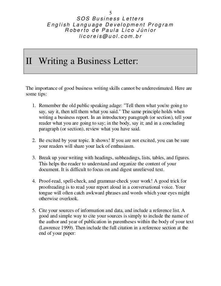 Life Skills Writing Sos How To Improve Your Business Letter