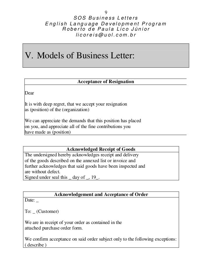 9 SOS Business Letters English