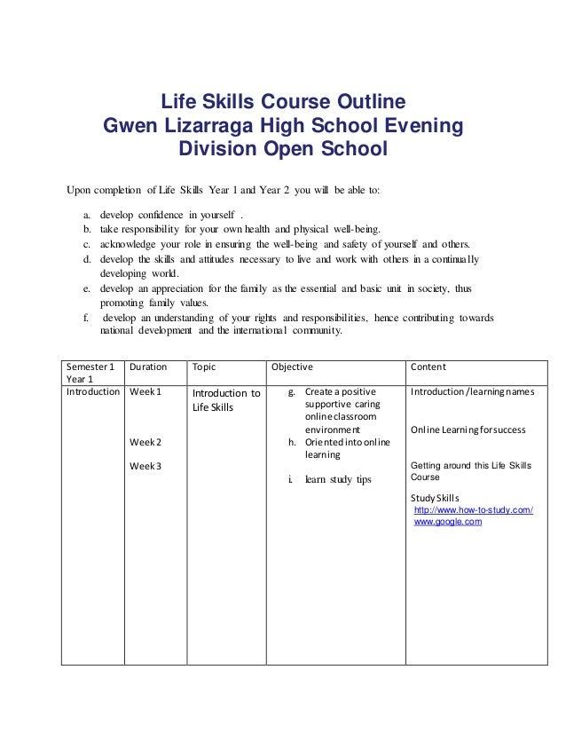 life skills course outline gwen lizarraga high school evening division