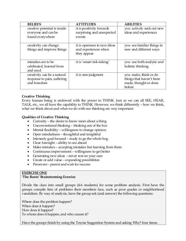 CREATIVITY & CRITICAL THINKING - Life Skills Training for High School