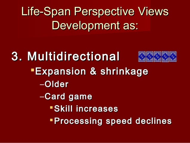 life span perspectives Lifespan perspective theory september 15 the life span perspective claims that there is a continuity of development and change throughout an.