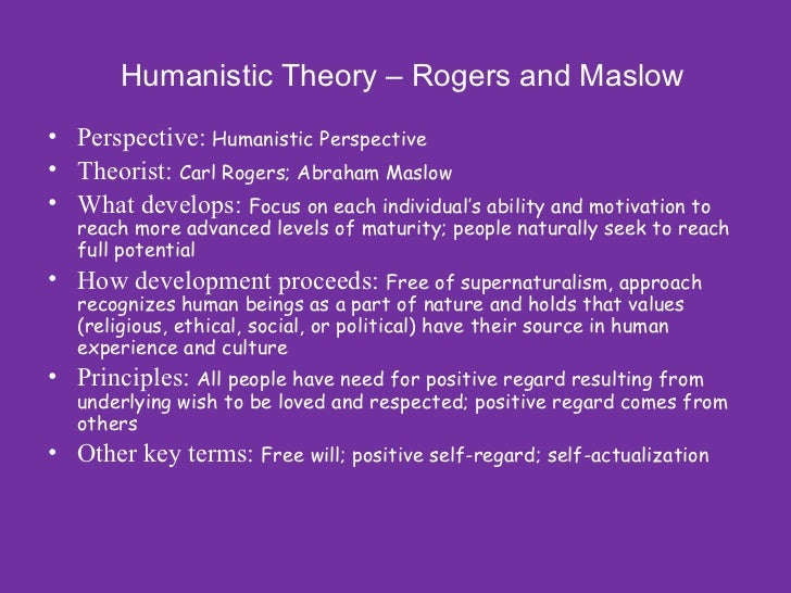 a comment on the humanistic approach to the development of personality Existential perspectives on personality: last forms of socio-psychological comment much more negative undertones than the humanistic approach it.