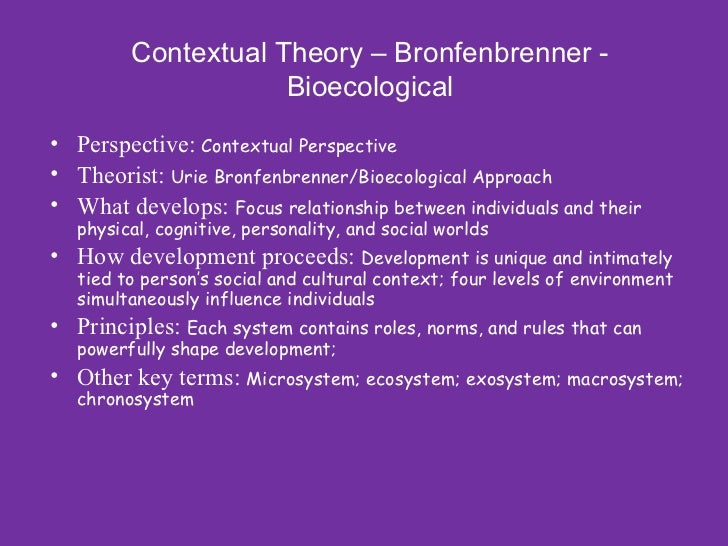 contextual role in lifespan dvelopment Donald e super's career development theory is perhaps the most widely known life-span view of career development developmental theories recognize the changes that people go through as they mature, and they emphasize a life-span approach to career choice and adaptation.
