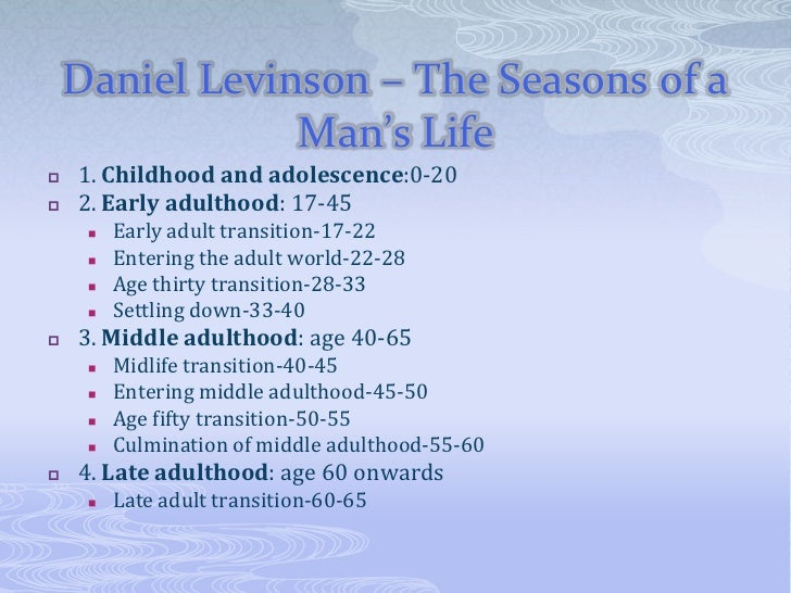 levinsons theory Developmental psychology lecture 17 11-20-00 outline choices & transitions to adulthood what signals adulthood stage theories of adulthood theories of career development levinson's theory: seasons of life mid-life transition rebalance the young-old polarity.