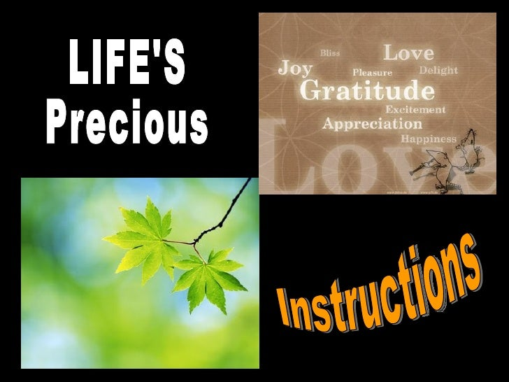LIFE'S Precious Instructions