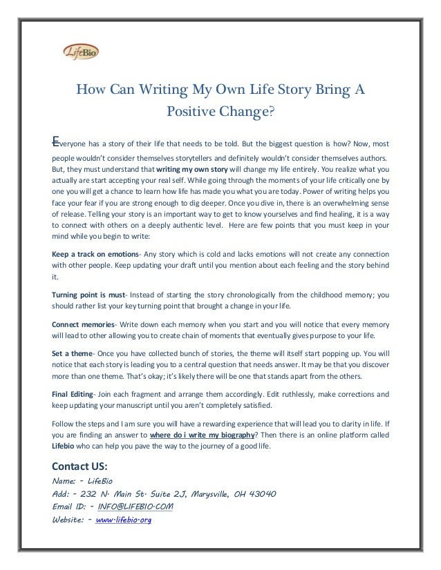 how to write a life story