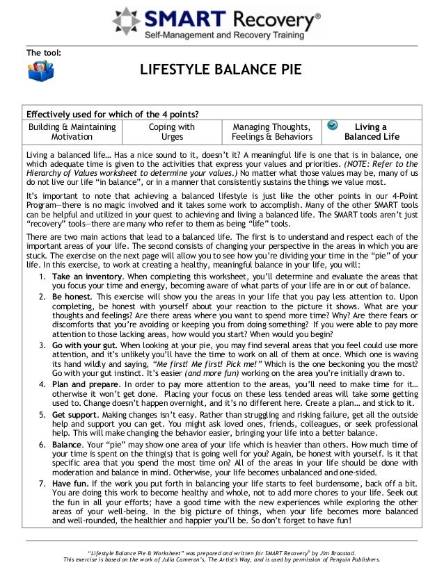 Lifestyle Balance Piee Personal Development Worksheets \u201clifestyle Balance Pie \u0026 Worksheet\u201d Was Prepared And Written For Smart Recovery� By \u201c