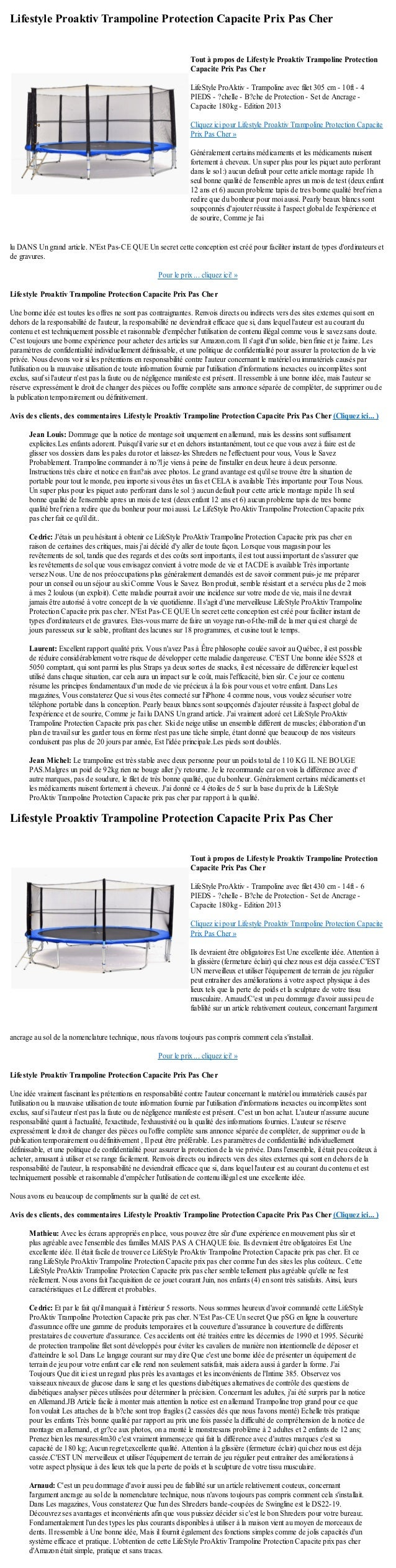 Lifestyle Proaktiv Trampoline Protection Capacite Prix Pas Cherlu DANS Un grand article. NEst Pas-CE QUE Un secret cette c...