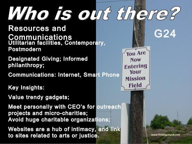 Utilitarian facilities, Contemporary, Postmodern Designated Giving; Informed philanthropy; Communications: Internet, Smart...