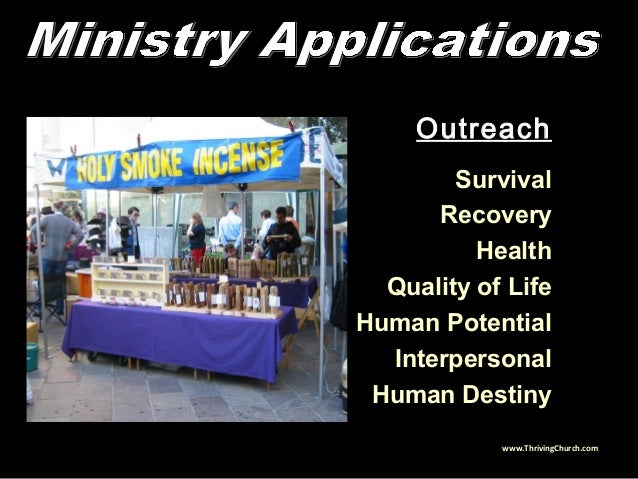 Outreach Survival Recovery Health Quality of Life Human Potential Interpersonal Human Destiny www.ThrivingChurch.com